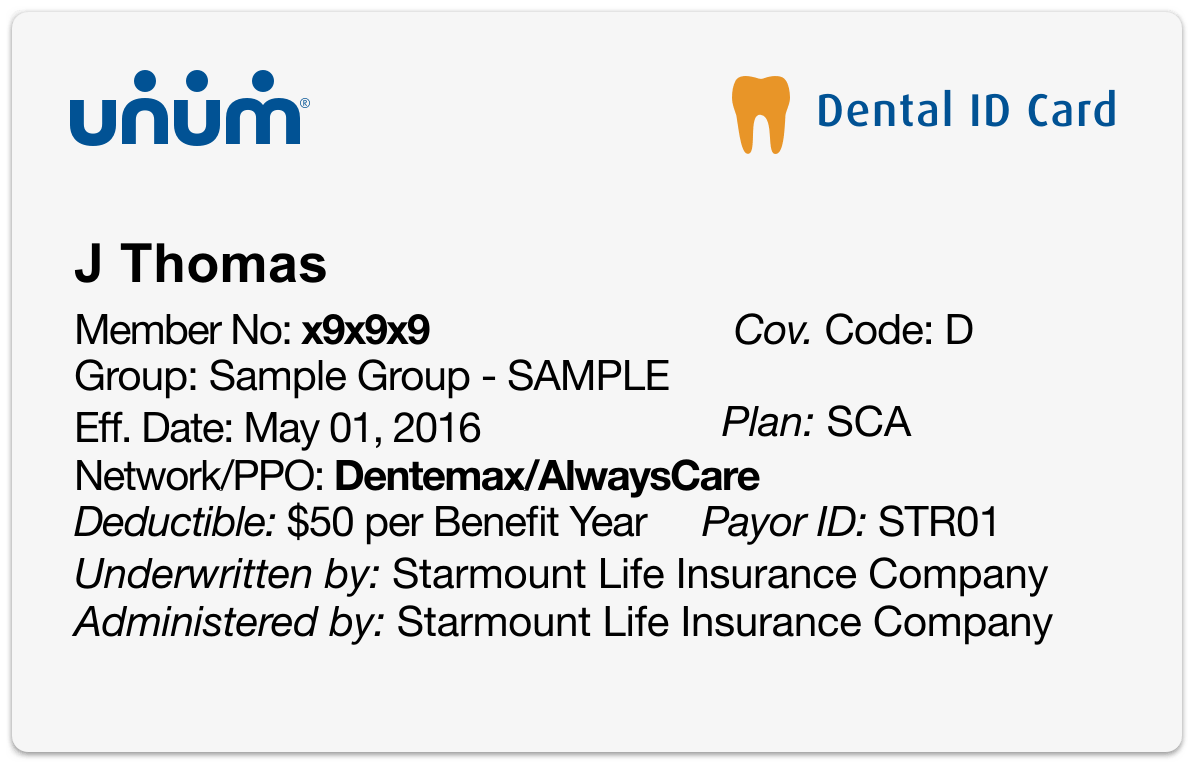 Sample dental insurance identification card