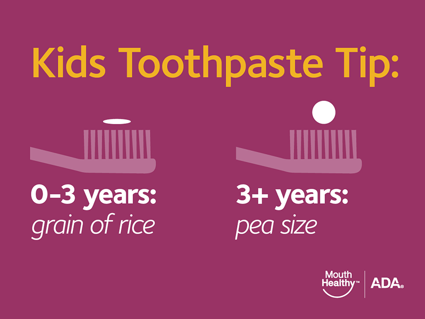 kids toothpaste tip: 0-3years grain of rice, 3+ years pea size